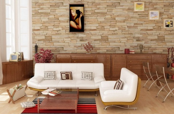 Інтер'єр сучасної квартири під натуральний камінь