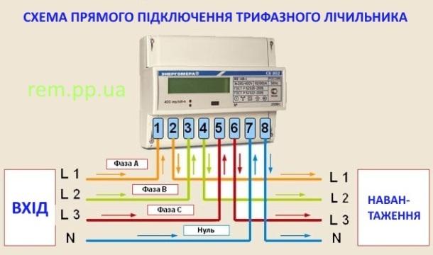 схема підключення лічильника на три фази