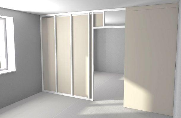 гіпсокартонний перестінок в кімнаті