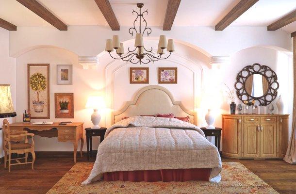 фото сільської спальні кантрі