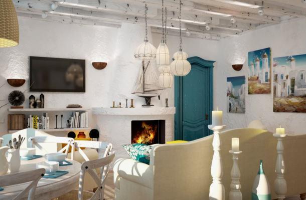 фото кімнати оформленої під середземноморський стиль
