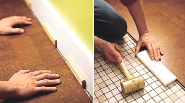 процес вкладання коркового покриття підлоги