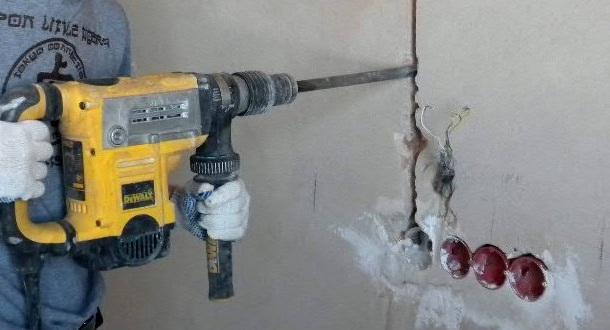 штроблення стін за допомогою перфоратора