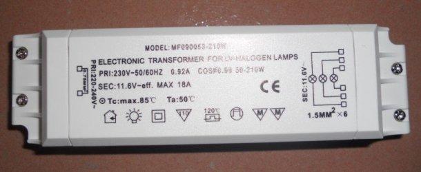 електронний перетворювач напруги для живлення ламп